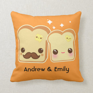 Personalized - Kawaii cute toasts couple Throw Cushions
