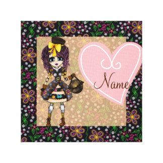Personalized Kawaii Girl steampunk Lolita PinkyP Canvas Print