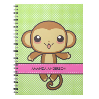 Personalized Kawaii Monkey Notebook/Journal Notebooks