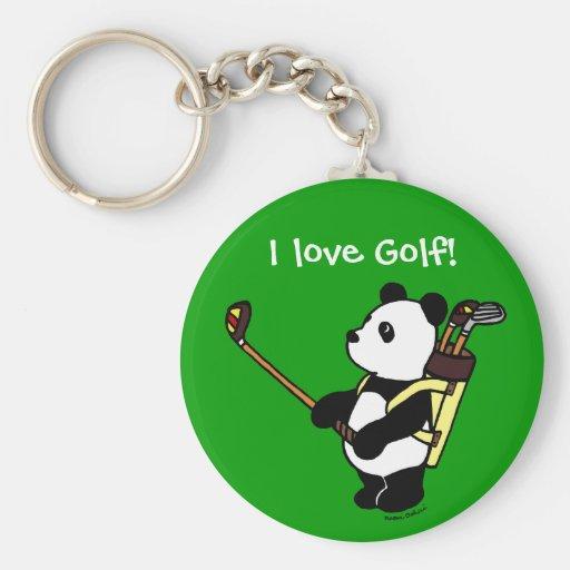 Personalized Kawaii Panda Golfer Keychain