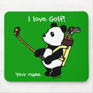 Personalized Kawaii Panda Golfer Mouse Mat