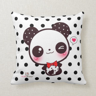 Personalized Kawaii panda on black polka dots Throw Cushions