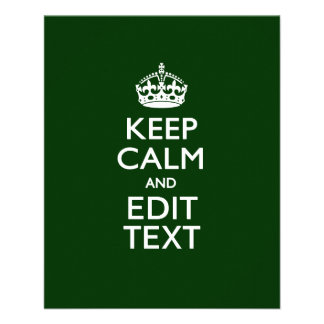 Personalized KEEP CALM AND Edit Text on Green 11.5 Cm X 14 Cm Flyer