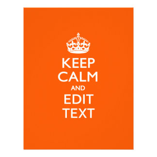 Personalized KEEP CALM AND Edit Text on Orange 21.5 Cm X 28 Cm Flyer
