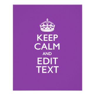 Personalized KEEP CALM AND Edit Text on Purple Flyer