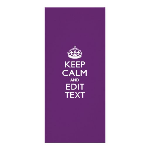 Personalized KEEP CALM AND Edit Text on Purple Custom Rack Card