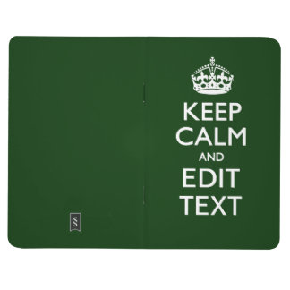 Personalized Keep Calm And Your Text Green Decor Journals