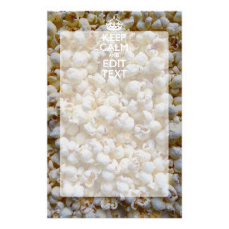 Personalized KEEP CALM AND Your Text on Popcorn Custom Stationery
