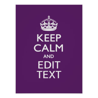 Personalized KEEP CALM AND Your Text on Purple Poster