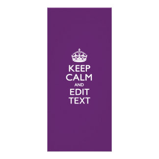 Personalized KEEP CALM AND Your Text on Purple Rack Card Design