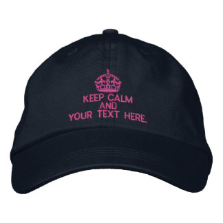Personalized KEEP CALM AND Your Text Original Embroidered Hat