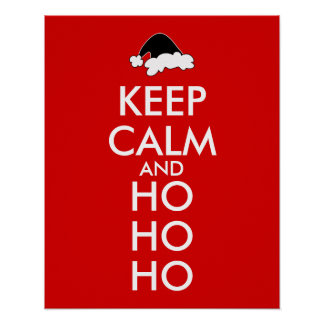 Personalized Keep Calm Christmas Poster Santa Hat