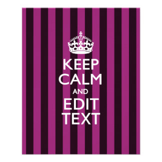 Personalized KEEP CALM Your Text Fuchsia Stripes 11.5 Cm X 14 Cm Flyer
