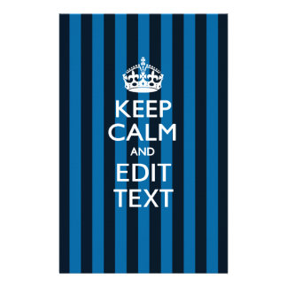 Personalized KEEP CALM Your Text on Blue Stripes 14 Cm X 21.5 Cm Flyer