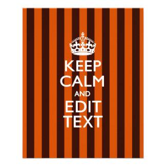 Personalized KEEP CALM Your Text on Orange Stripes 11.5 Cm X 14 Cm Flyer