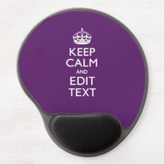 Personalized KEEP CALM Your Text on Purple Decor Gel Mouse Mat