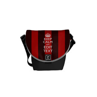 Personalized Keep Calm Your Text on Red Stripes Commuter Bags