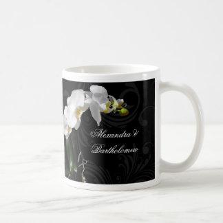 Personalized Keepsake Black & White Orchid Design Basic White Mug