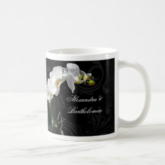Personalized Keepsake Black & White Orchid Design Coffee Mug