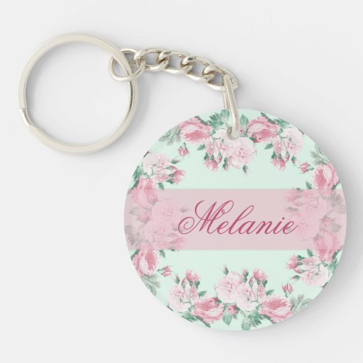 Personalized keychain romantic roses shabby chic