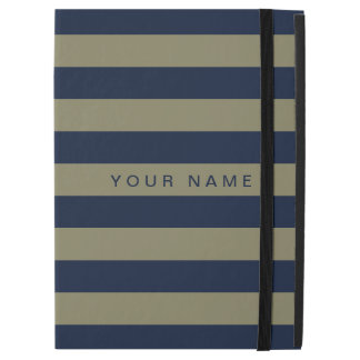 "Personalized Khaki & Navy Blue Striped iPad Pro 12.9"" Case"