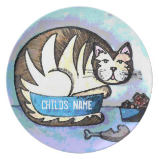 Personalized Kids Art Plate - Fat Cat