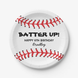 PERSONALIZED KIDS BASEBALL BIRTHDAY PLATES 7 INCH PAPER PLATE