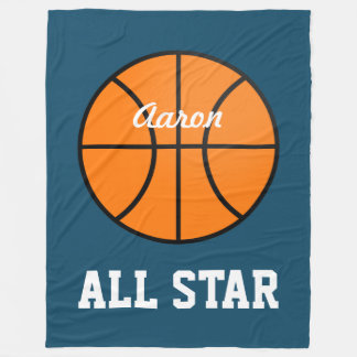 Personalized Kids Bedroom Basketball Blanket Gift
