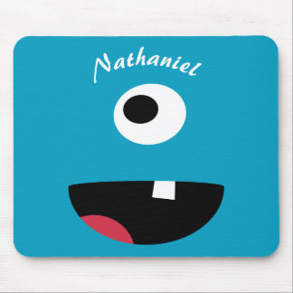 Personalized Kids Blue Monster Face Funny Mouse Pad