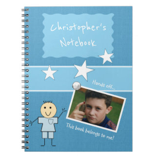 Personalized Kids Blue Photo Spiral Notebook