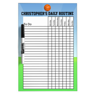 Personalized Kid's Chore/Daily Routine Chart Dry-Erase Whiteboards