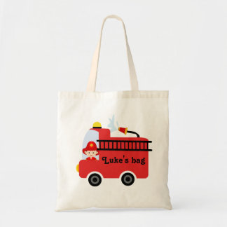 Personalized Kids Fire Engine Tote Bag