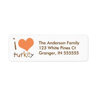 Personalized Kids I Love Turkey Address Labels
