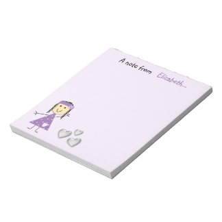 Personalized Kids little stick girl purple Notepad