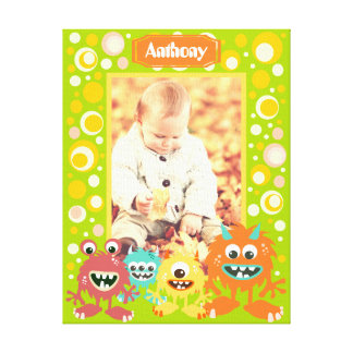 Personalized kids monsters photo frame canvas print