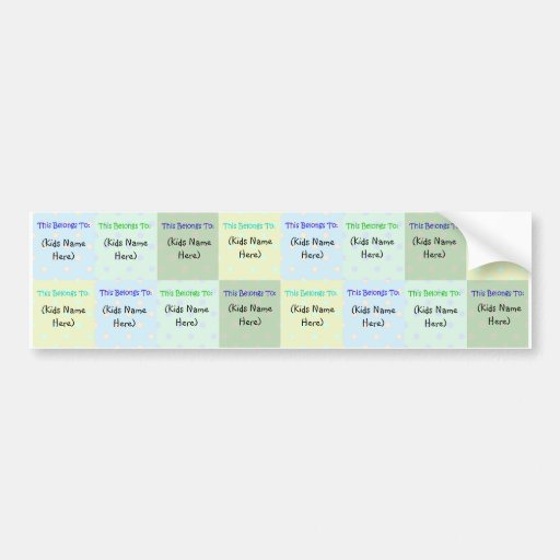 Personalized Kids Name Labels; Waterproof Stickers Bumper Sticker