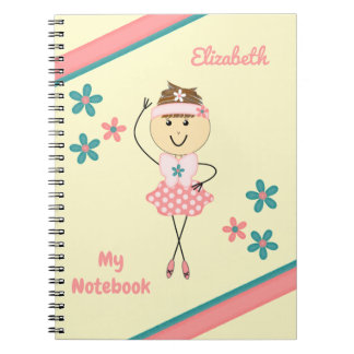 Personalized Kids Pink and green ballerina Spiral Notebook