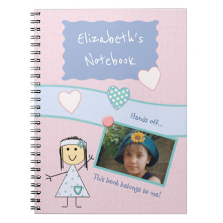 Personalized Kids Pink Photo Notebooks