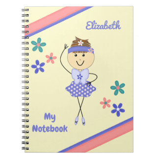 Personalized Kids purple ballerina Notebooks