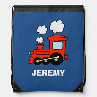 Personalized kids red toy train drawstring bag