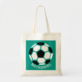 Personalized Kids Soccer Sports Green Sport Tote Bag