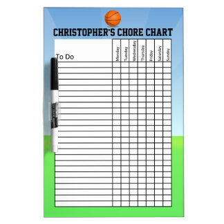 Personalized Kid's Sports Basketball Chore Chart Dry Erase Whiteboard