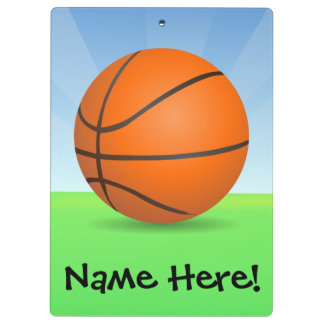 Personalized Kid's Sports Basketball Sunny Day Clipboard