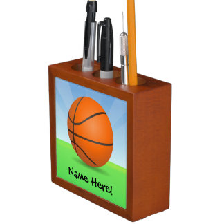 Personalized Kid's Sports Basketball Sunny Day Desk Organiser