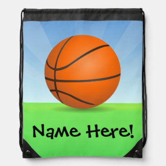 Personalized Kid's Sports Basketball Sunny Day Drawstring Bag