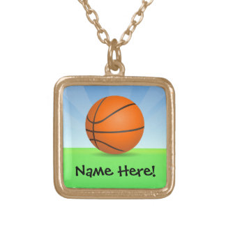 Personalized Kid's Sports Basketball Sunny Day Gold Plated Necklace