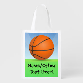 Personalized Kid's Sports Basketball Sunny Day Reusable Grocery Bag