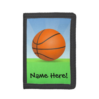 Personalized Kid's Sports Basketball Sunny Day Trifold Wallet