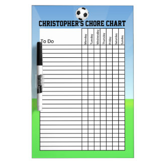 Personalized Kid's Sports Soccer Ball Chore Chart Dry Erase Whiteboards