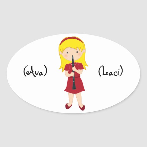 Personalized Kids Stickers-Girl Playing Clarinet